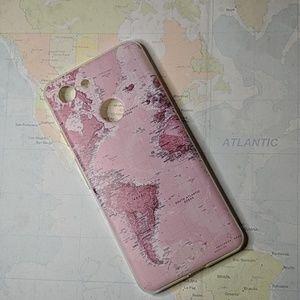 Pixel 3 pink world map phone case